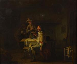 Lachende mannen in een herberg