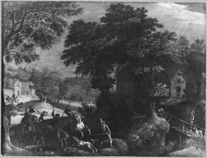 Landschap met stierenjacht