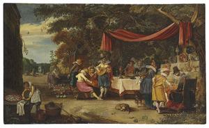 Elegant converserend en musicerend gezelschap in een tuin