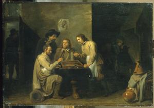 Triktrakspelers in een herberginterieur