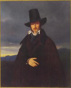Portret van de Duitse schilder Wilhelm Kaulbach (1805-1874) in een Beiers landschap