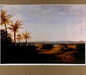 Braziliaans landschap met de Portugese residentie, de kerk en het Casa Grande; op de achtergrond de rivier Várzea