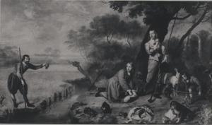 Portret van een jachtgezelschap