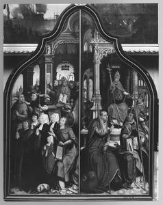 Jean Poitiers en zijn familie (links); Paus Sixtus IV kondigt het dogma van de Immaculata Conceptio af (rechts)