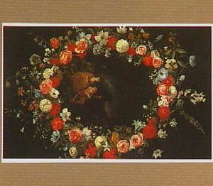Bloemenkrans (rond een later toegevoegd medaillon)