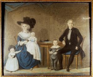 Portret van Etiënne Luzac (1754-1827), Johanna Suzanna Valckenaar (1756-1826) en hun kinderen