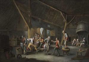 Stalinterieur met dansende, etende en rokende boeren