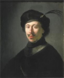 Jonge man met halsberg en gevederde baret