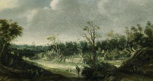 Bebost landschap met een dorp