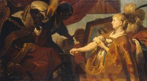 Chariklea toont Persina and Hydaspes de plek op haar elleboog zien als bewijs van haar afstamming (Heliodorus: Aethiopica)