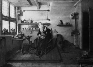 Schoenmaker in zijn werkplaats
