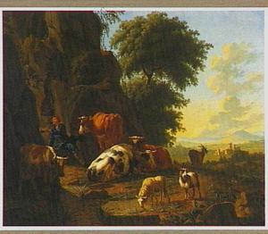 Vee in een berglandschap met een herder die water opvangt