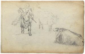 Twee koeien en een herder met een stok