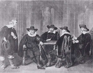 De vier Amsterdamse burgemeesters vernemen de aankomst van Maria de' Medici, 1638