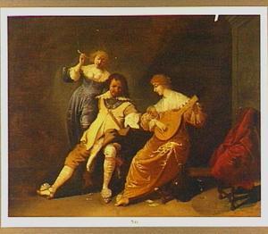 Interieur met drie musicerende en zingende figuren