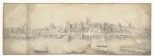 Gezicht op Gouda vanaf de overzijde van de Hollandse IJssel