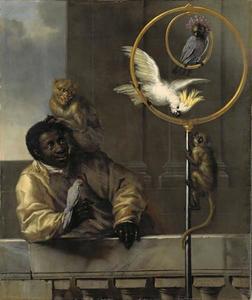 Zwarte man met vogels en apen