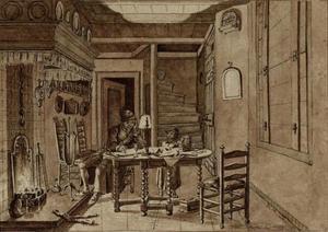 Keukeninterieur met zelfportret van Jacob Cats (1741-1799) tekenend
