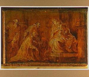 Een stichter met twee patroonheiligen de Madonna met kind aanbiddend