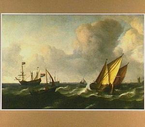 Hollandse schepen in een stevige wind