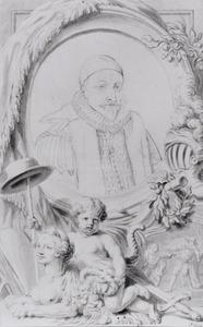 Portret van Willem I 'de Zwijger' van Oranje- Nassau (1533-1584), met de scène van zijn dood en een allegorie op de Republiek