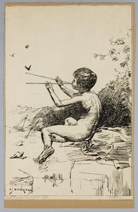 Jongen met fluit en vlinders