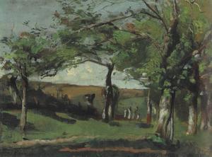 Glooiend landschap met bomen