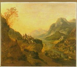 Gezicht op een riviervallei met een kasteel op de berg en scheepvaart