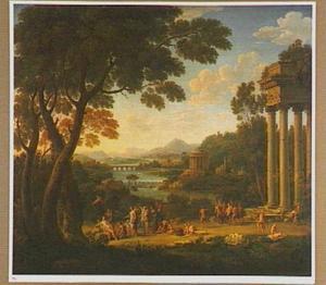 Zuidelijk landschap met saters en nimfen bij een tempel