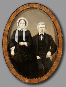 Portret van Anna Morks (1834-1894) en een man, waarschijnlijk Johannes Morks (?-?)