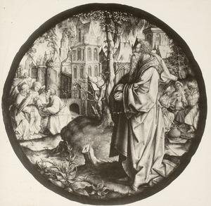 Lot is getuige van de ondergang van Sodom; links ontvangt Lot de twee engelen aan de stadspoort van Sodom en rechts voeren de dochters van Lot hun vader dronken (Gensesis 19)
