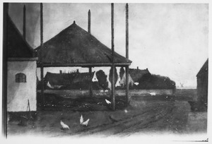 Boerenerf met kippen en hooischuur