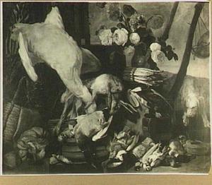 Jachtstilleven met zwaan, bloemen en hond