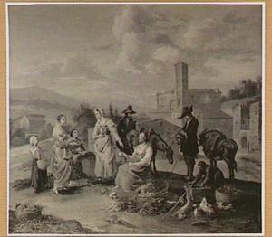 Groentenverkoopster in de Romeinse Campagna