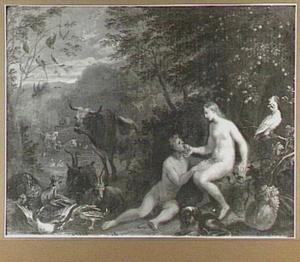 Eva laat Adam in het paradijs van het verboden fruit eten (Genesis 3:6)