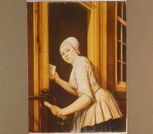 Briefbestellende schippersvrouw