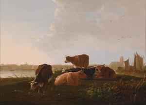 Landschap met rustend vee, op de achtergrond Dordrecht