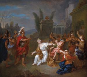Odysseus vraagt Andromache om de jongen Astyanax
