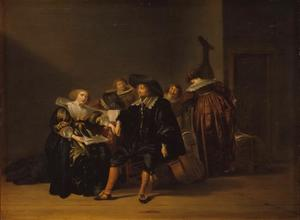 Elegant converserend en zingend gezelschap in een interieur