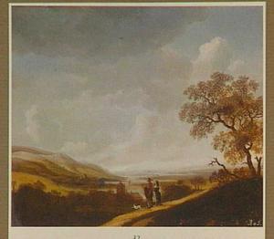 Weids landschap met wandelend paar