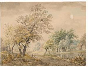Boslandschap met boerderijen bij een vijver
