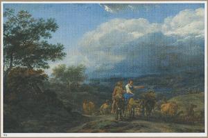 Zuidelijk berglandschap met groep herders en boeren