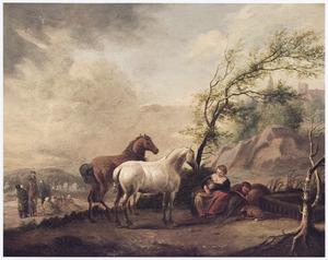 Landschap met rustende reizigers en twee paarden, op de achtergrond een groep zigeuners