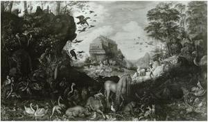 Voor de zondvloed, in de achtergrond de ark van Noach