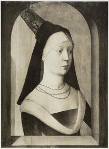 Portret van een vrouw in een geschilderde nis