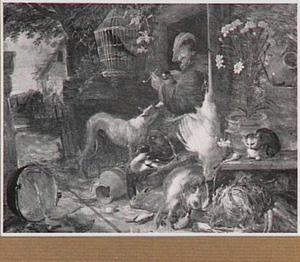 Boerderijstilleven met rechts een man met een bierpul en een pijpje in zijn hand