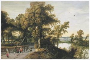 Boslandschap met een troep soldaten onderweg en een boerin met dode kippen