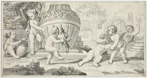 Putti bij een tuinvaas: allegorie op het toneel