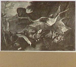 Jachtbuit van hert, vos en gevogelte met hond