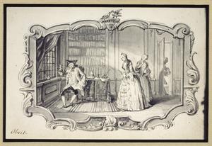 Piskijkende arts met vrouw en dienstmeid in interieur